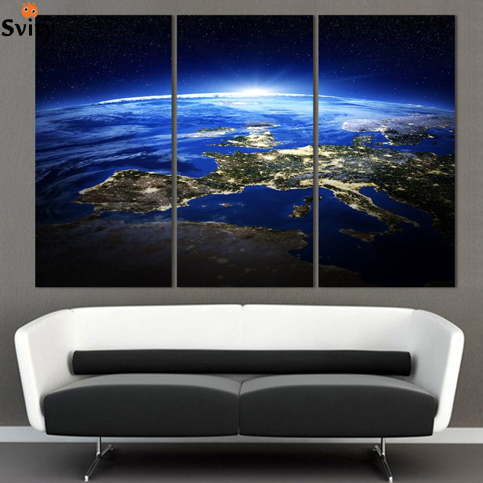 3 Panel Modern Sunrise Space Universe Picture Painting Cuadros Wall Decor Canvas Art Home Decor For Living Room(No Frame)