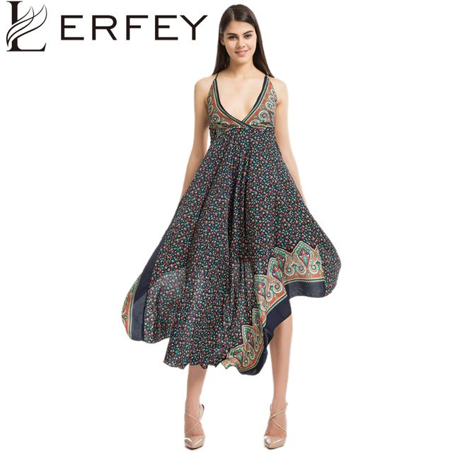 LERFEY Loose Floral Print Long Bohemian Dress Women Sexy Deep V Neck Backless Summer Beach Dress Asymmetrical Casual Boho Dress