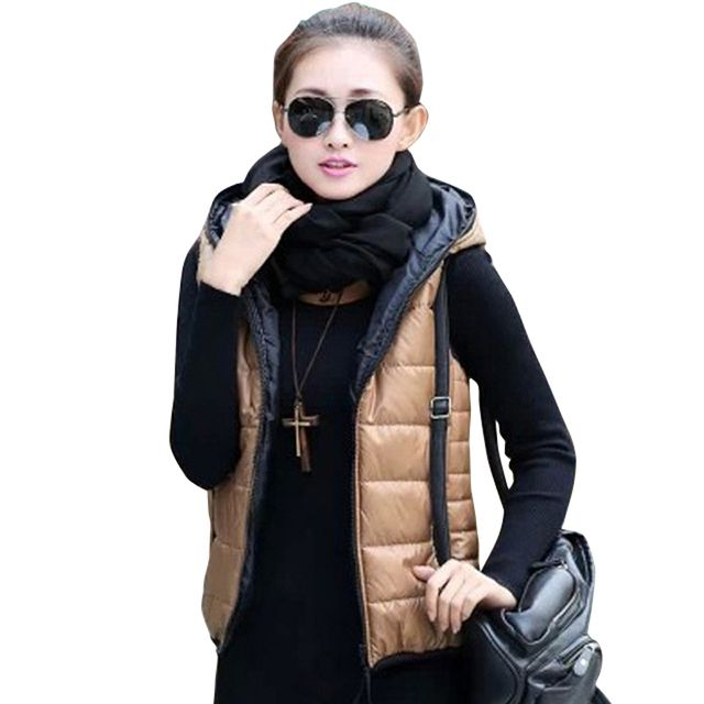Autumn Winter 2018 Thickening Lady Outerwear Hooded Patterns Fashion Casual Cotton Women Vest Jacket wadded coat Free Shipping