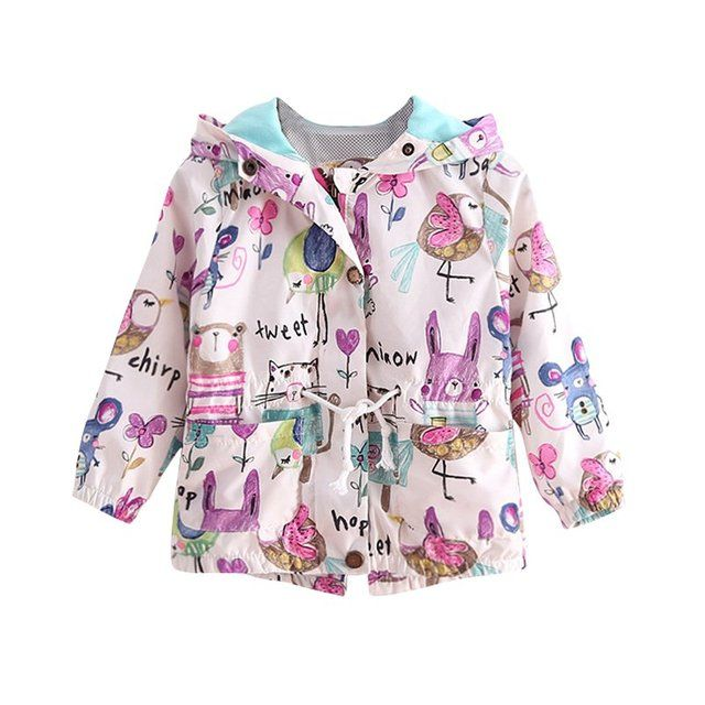 2017 New Spring Casual Painted Girls Jackets Hooded Outerwear For Girls Fashion Hand Kids Sunscreen Clothing