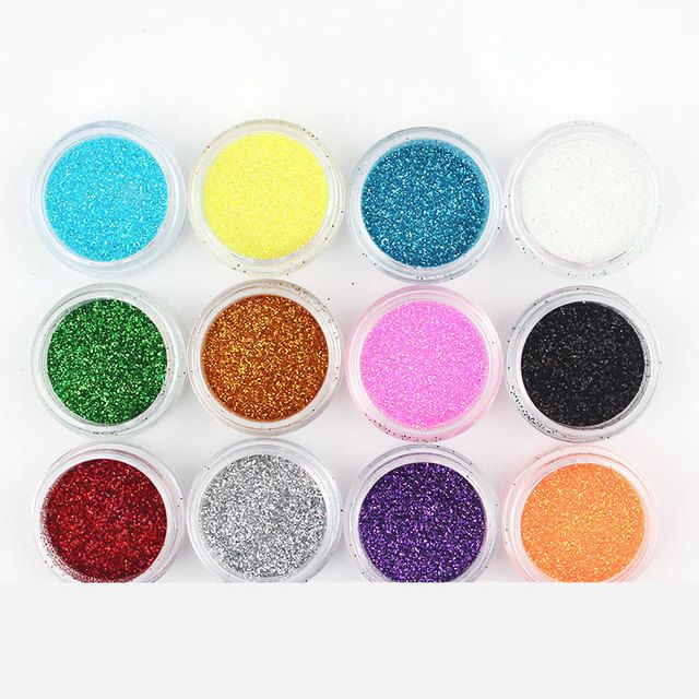 12 Color/Set Metal Glitter Nail Art Tool Kit Nail Glitter UV Polish Color Acrylic Powder Dust Pigment Art Nails Decoration