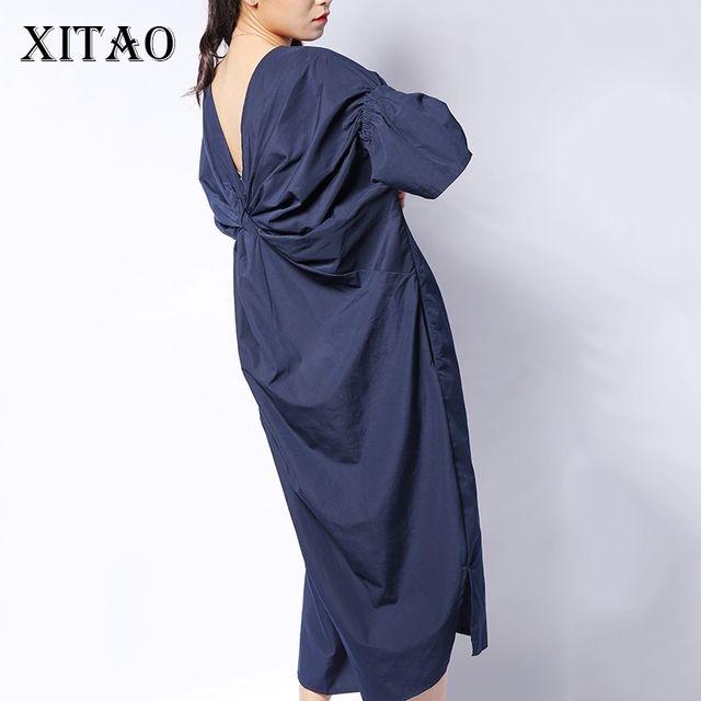 [XITAO] 2016 Korea style women back fold solid color half sleeve V-Neck long dress casual female flare sleeve loose dress HJF019