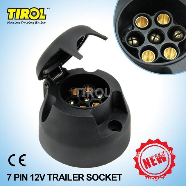 TIROL T22779 New 7-Pin Trailer Socket  Black frosted materials 12V Towbar Towing Socket N Type -Vehicle End Free Shipping