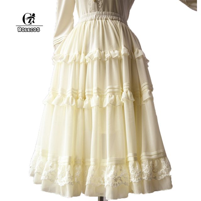 ROLECOS New Fashion European Palace Fashion Women Vintage Big Swing Tutu Chiffon Lolita Skirt