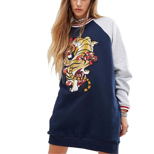 2017 Europe and the United States Autumn New products tiger embroidery Sleeve sleeves Hit color Hedging Plus velvet Long sleeves