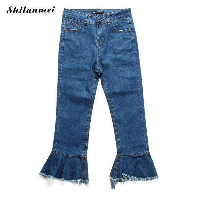 black blue Denim bell-bottom skinny Women Long Trousers womens jeans spijkerbroeken ripped mom jeans for women jeans femme