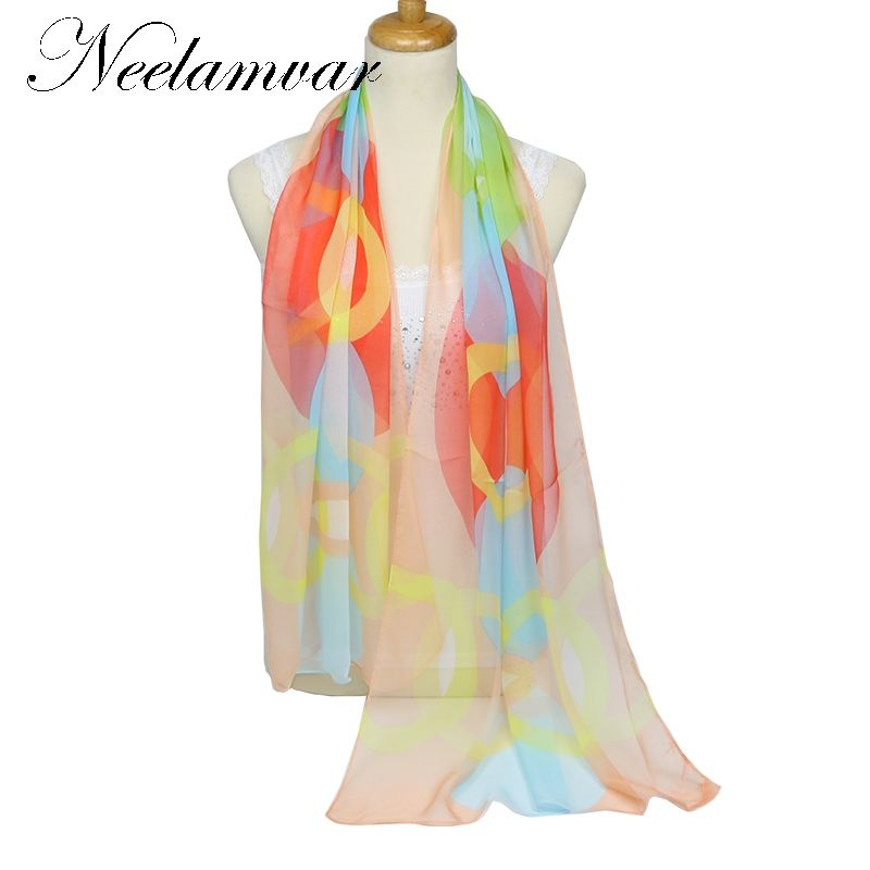 Neelamvar 2019 beautiful scarf women chiffon geogette colorful silk feeling scarf women 's Autumn Winter long shawls pashmina