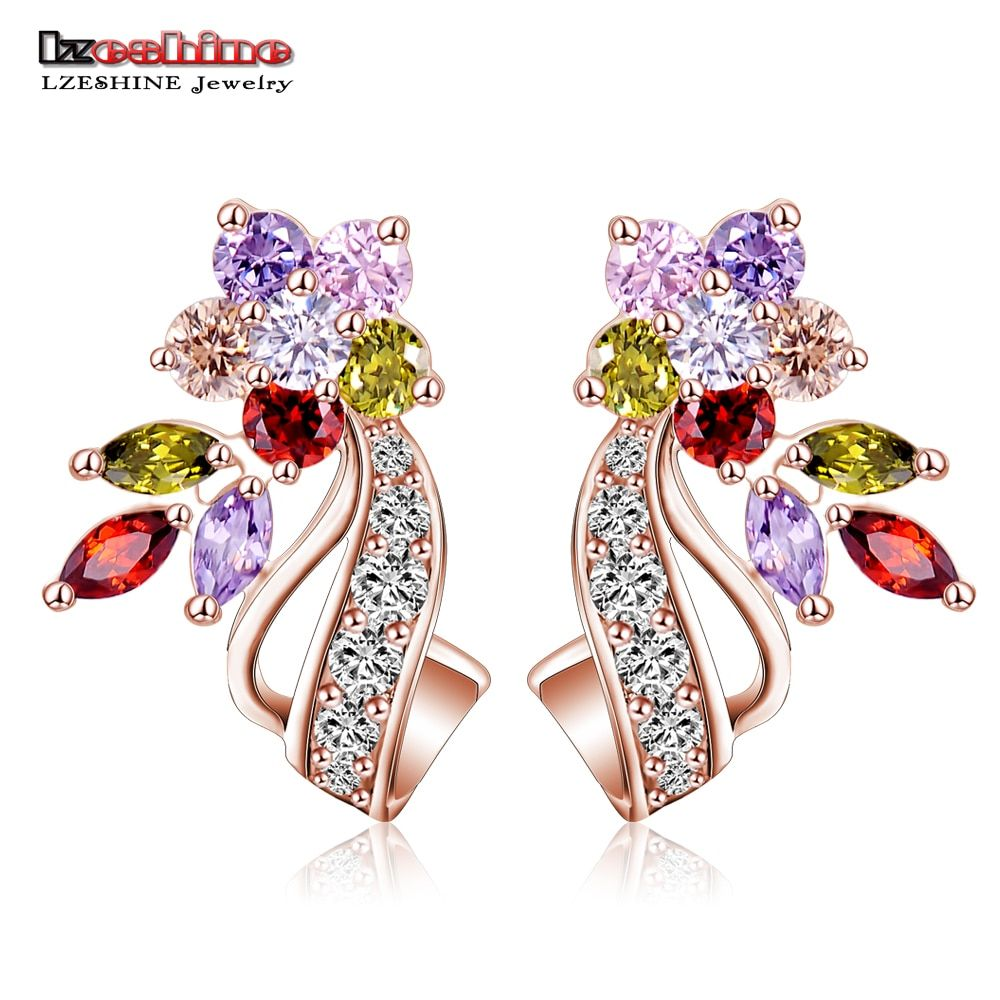 LZESHINE 2016 New Hot Flower Stud Earrings Multicolor/Clear AAA Zirconia Stone Wedding Bride Jewelry joyas novia boda CER0201