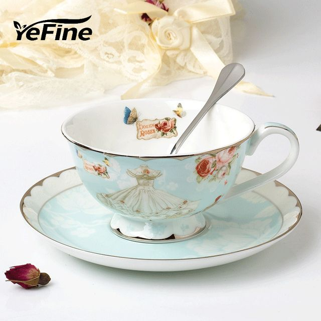 YeFine Luxury Gift Ceramic Cup Coffee Set Classical Britiish Black Tea Cups Bone China Vintage Drinkware Set Porcelain Spoon