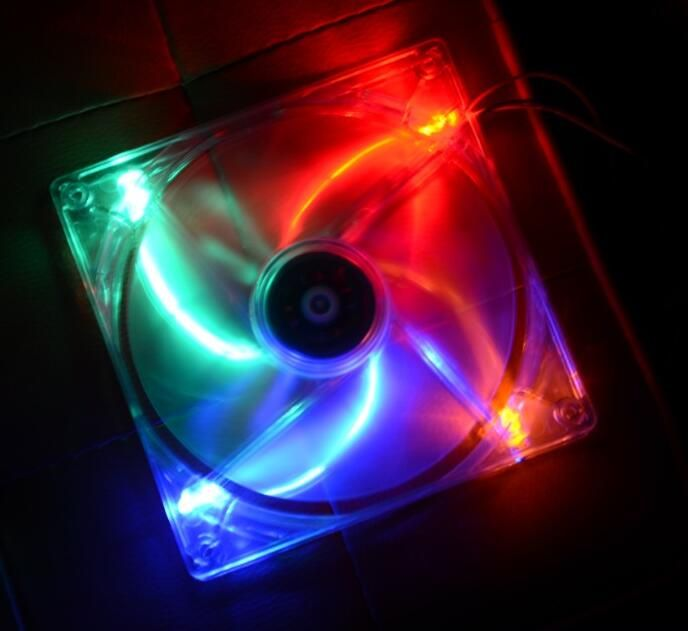 Transparent colorful led Color 12V 4Pin 140mm x 25mm Fan For PC Case System Cooling Fan