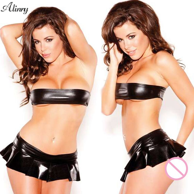 New arrival sexy lingerie hot black lenceria sexy leather bikini mini skirt erotic lingerie  wrapped chest SM sexy costumes