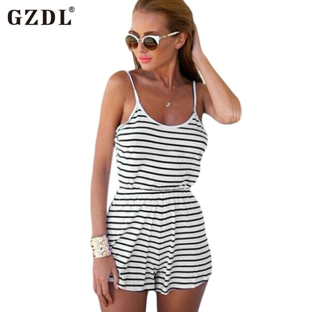 GZDL Summer Sexy Women Spaghetti Strap Backless Milk Silk Striped Playsuit Bodysuit Casual Beach Jumpsuits Romper Overall CL2042