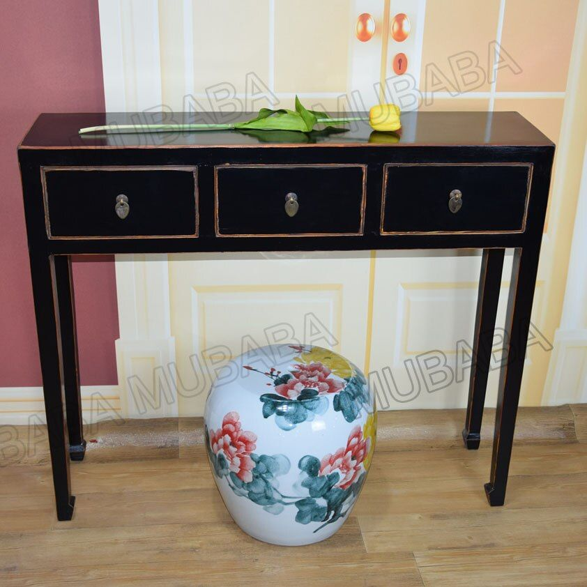 Neoclassical wood sideboard cabinet with black painting
