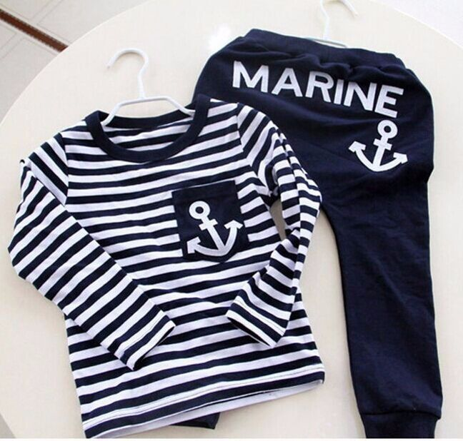 Kids Clothes, Autumn Navy Long Sleeve Pullover Striped Sports Suit, Hot Sale New 2016 Tracksuit Casual Boys Clothing Set 705