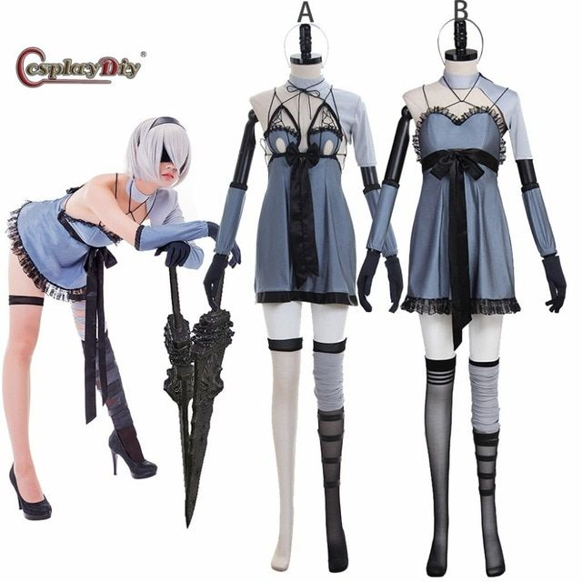 CosplayDiy Game NieR Automata DLC Cosplay YoRHa No. 2 Type B 2B Cosplay Costume Women Halloween Full Set Two Version Custom Made