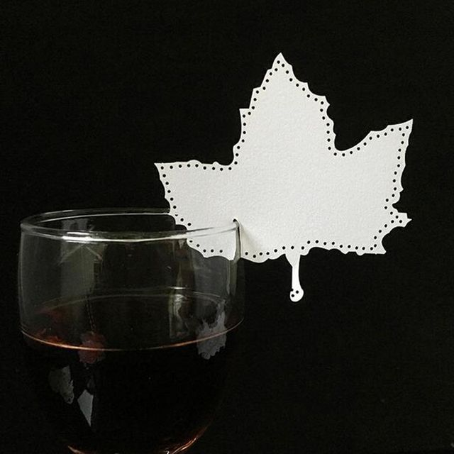 50PCS 10Color Laser Cut Art Maple Leaf Paper Place Card / Escort Card / Cup Card/ Wine Glass Card For Wedding Party Decoration