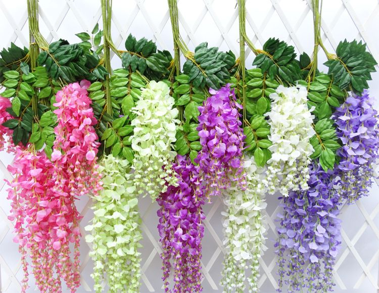 wisteria artificial flowers wedding party festival decor flowers Garden Hanging Plant Vine 110cm 12pcs/lot