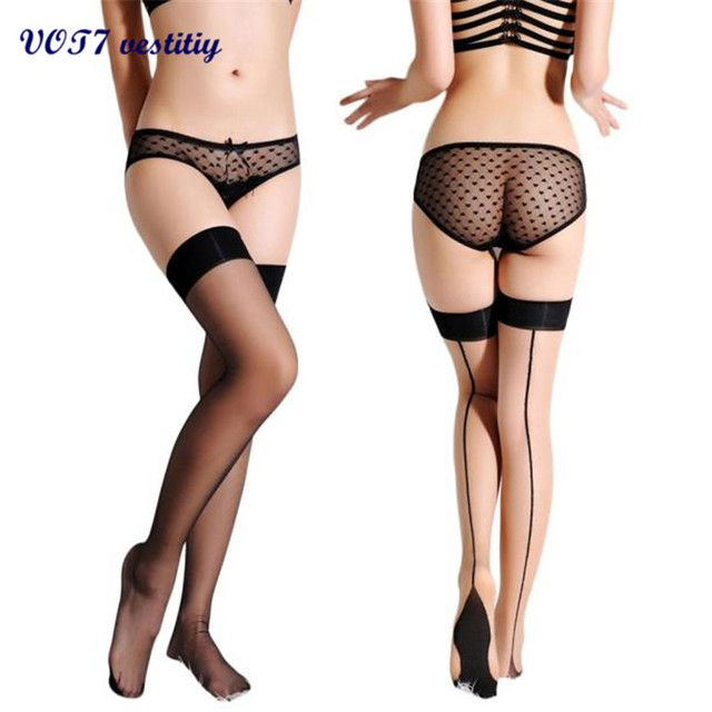 Women Sexy Stockings VOT7 vestitiy Women Sexy Transparent Sheer Top Thigh High Stockings Thigh Highs Hosiery good gift S 19