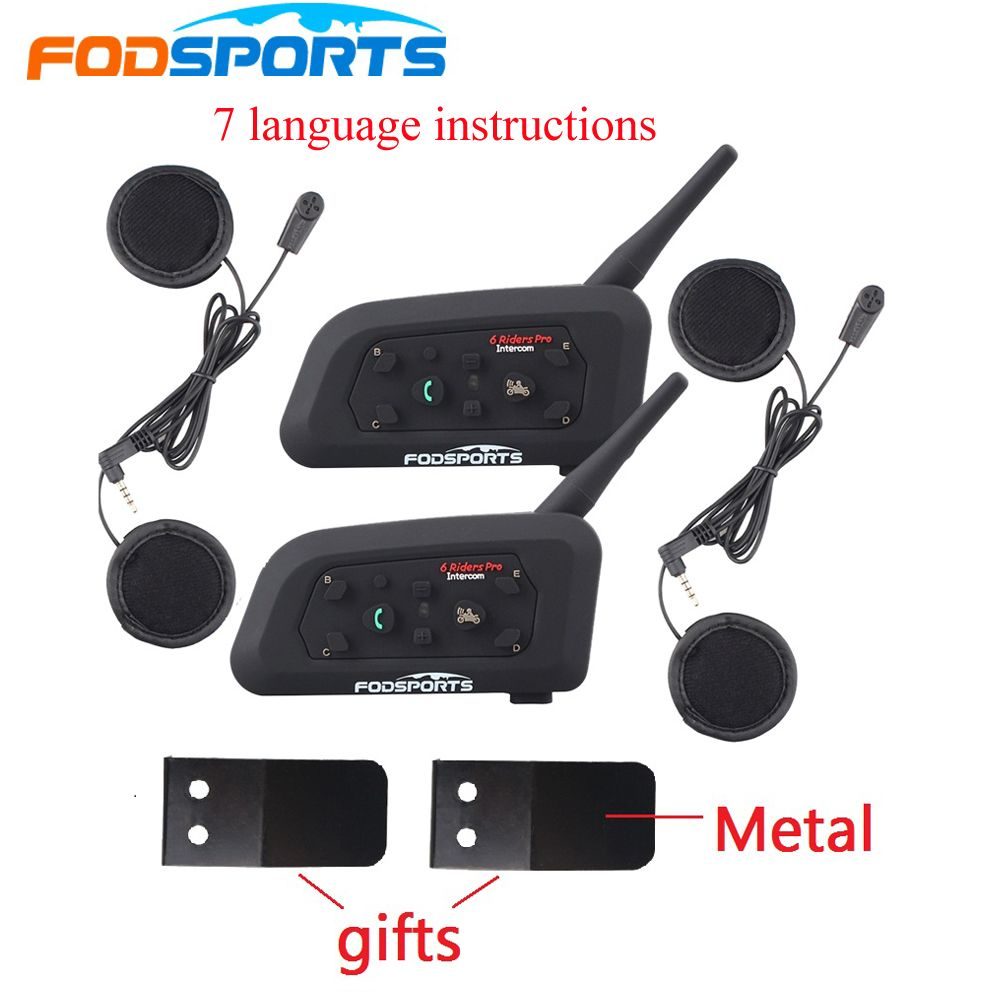 2PCS Fodsoprt V6 Pro Motorcycle Bluetooth Helmet Headsets Intercom for 6 riders BT Wireless intercomunicador Interphone MP3 GPS