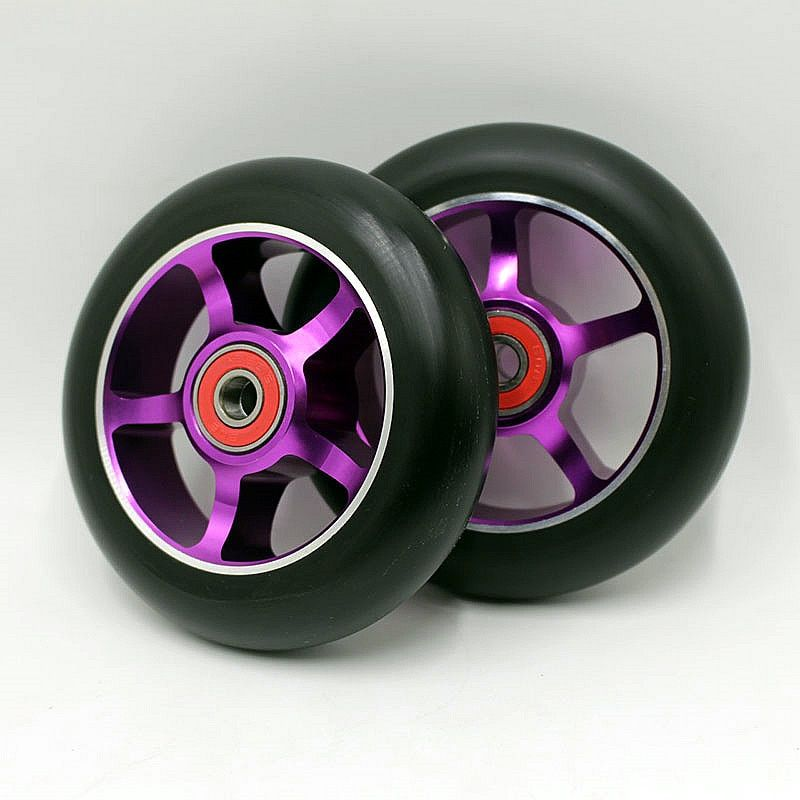 2PCS 100mm Freestyle Stunt Scooter Wheels With High Elastic Wear-resisting PU,Alloy Core, ABEC-9 Bearings,Roller Ski Wheels 88A