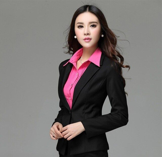 Autumn Winter High Quality Elegant Black Professional Business Work Wear Blazers Jacket Outwear Coat Formal Uniforms Blaser