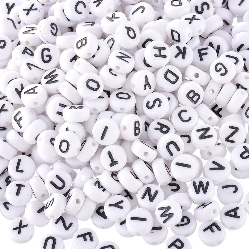 2019 New 1000PCs White Letter Beads Alphabet Acrylic Beads For Jewelry Making 6mm Women Children DIY Bracelet Necklace Findings