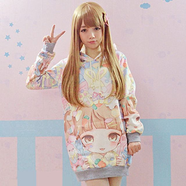 2016 new Autumn Lolita Hoodies Women Cute Hot Japan Students/Young Kawaii Pullovers Japanese Girl HARAJUKU Long style Sweatshirt