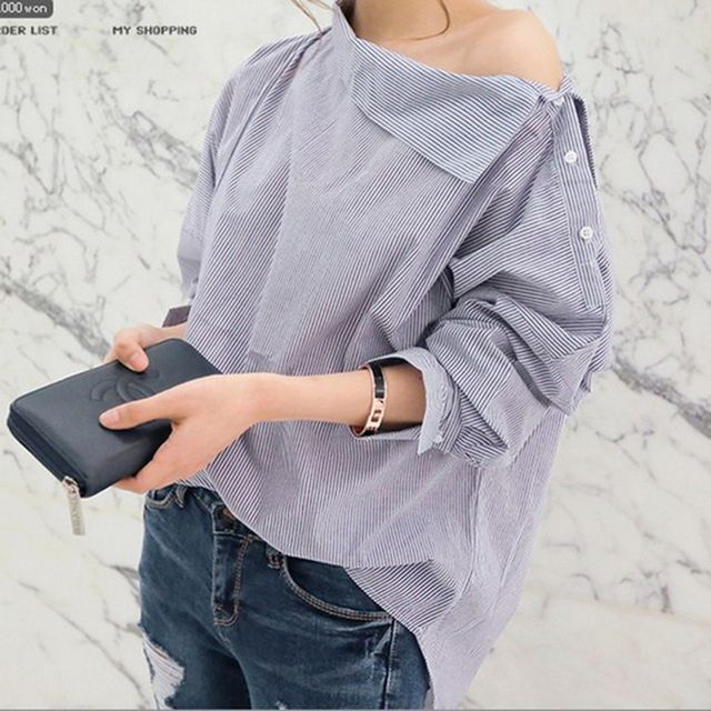 New Women Shirts Batwing Full Sleeve Striped Loose Oblique Collar Blouse Shirt Sexy black And White Striped Button Tops