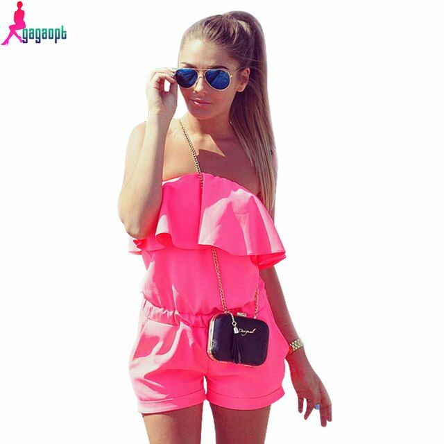 Gagaopt 2016 Summer Playsuits Women Sexy Solid Candy Color Short Jumpsuits  Bodycon Party Jumpsuit Romper Vintage Women Playsuit