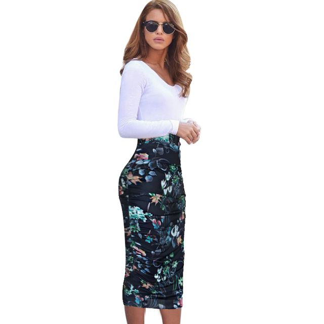 Vfemage Womens Elegant Ruched Frill Ruffle High Waist Work Business Casual Party Club Pencil Sheath Midi Mid-calf Skirt 1877
