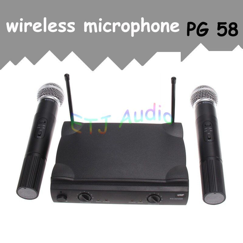 ETJ Brand VHF Wireless Micropphone PGX58 Omni-directional Wireless Microphone System Dual Handheld 2 x Mic Cordless Receiver