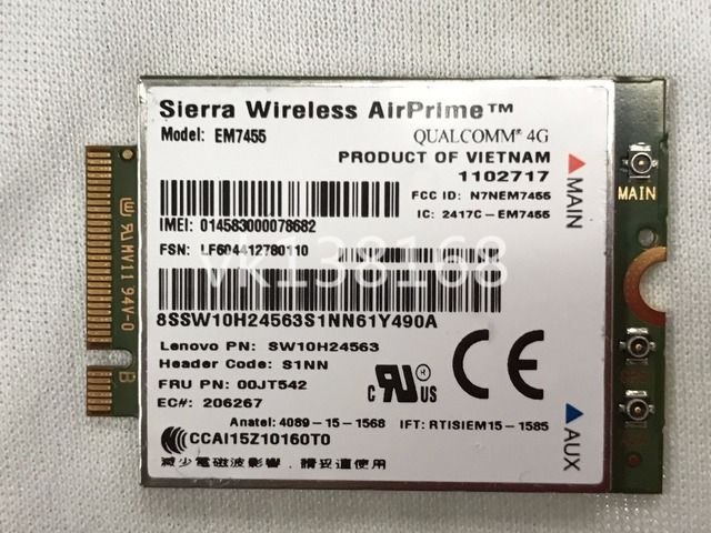 Wireless AirPrime EM7455 GOBI6000 4G LTE NGFF module for Lenovo Thinkpad FRU 00JT542 GOBI 6000 + FREE ANTENNA
