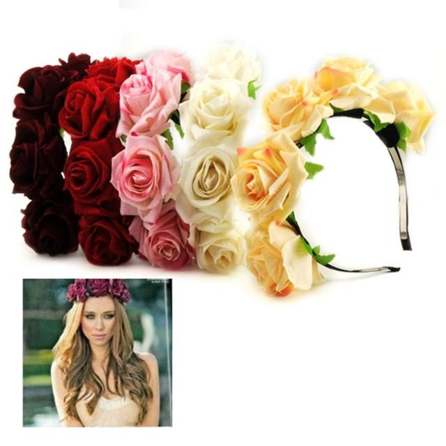 Brand20PCS Party Beach wear Holiday Accessory 5 Rose Flowers Headband Bride Bridesmaid Garland Handmade Floral Crown Accessories