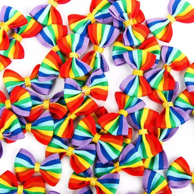 50pcs Mixed Baby Satin Ribbon Rainbow Stripe Bowknot Hair Clips Applique DIY Craft Wedding Bow Tie Decoration 3.5x2.2cm