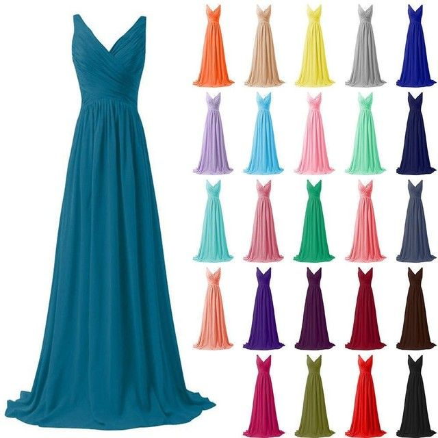 Very Cheap Chiffon V-Neck Bridesmaid Dresses Vestido Largo Fiesta Boda Ruffle Bodice Full-Length Formal Party Celebrity Gowns