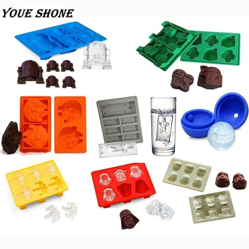 Youe shone 8Pcs/set Death Star Wars Darth Vader Storm Trooper R2D2 Falcon X-Wing Hans Solo Mold Ice Cake Chocolate DIY Mold