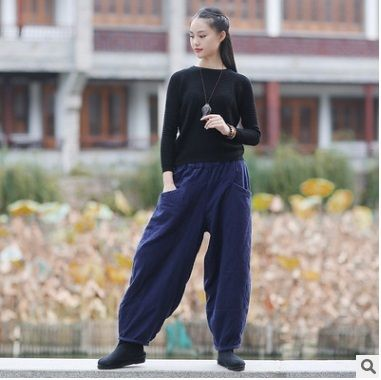 2016 winter  product launches original design loose big yards  cotton linen thickening of the   women's haroun pants