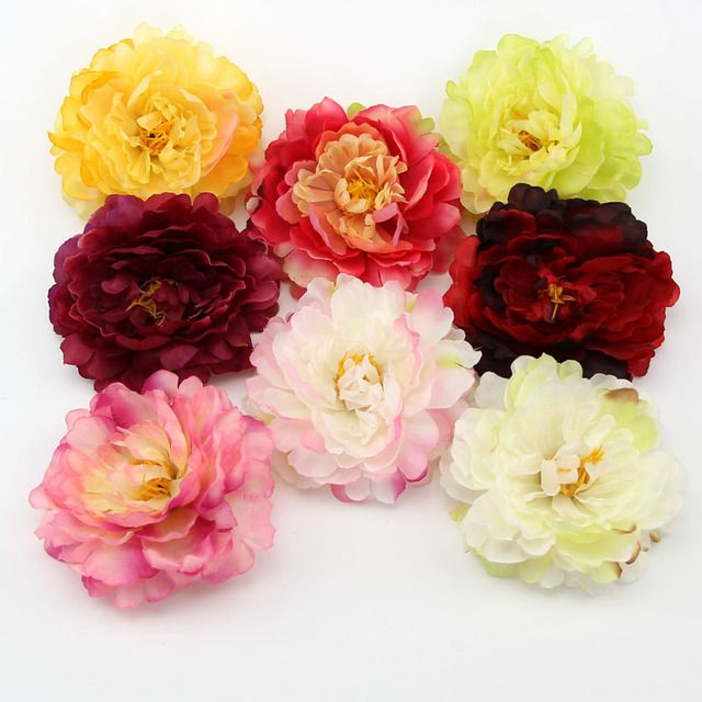 5PCS DIY Big Size Artificial Silk Simulation Peony Flowers Head  For Home Wedding Party Decoration Scrapbooking  Fake Flowers