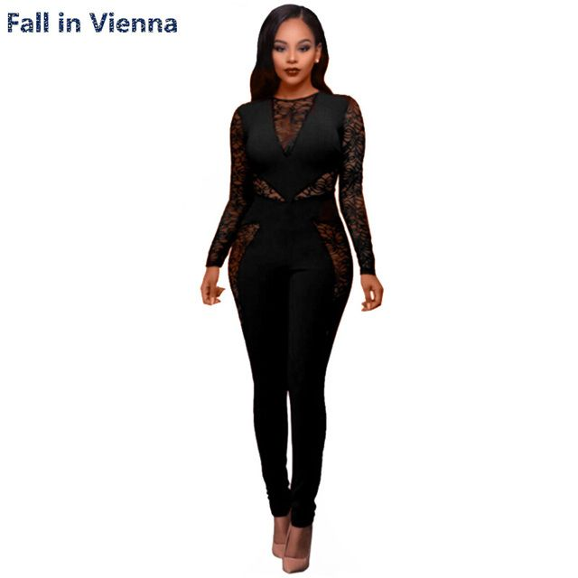 long sleeve jumpsuit women Catsuit Lace Spice Fashion 2017 Bodycon macacao feminino