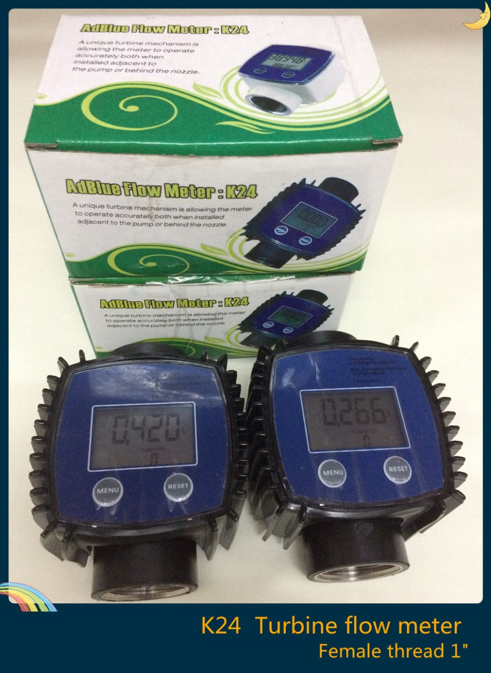 "2 pcs/lot  1""  K24  Plastic Diesel Fuel electronic magnetic turbine oil flow meter"