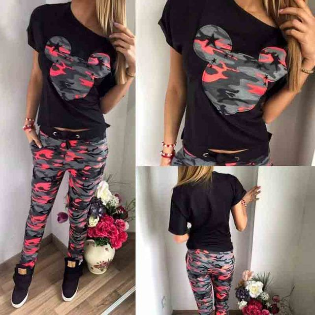 2017 Camouflage Mickey Print Sport Suits for Women Black T-shirt and Pencil Pants Tracksuit Skinny Suit Femme Sportwear