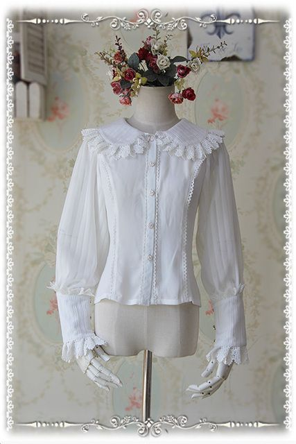 Infanta Branded White/Black Blouse Rose Memory Series Chiffon Striped Long Puff Sleeve Blouse for Girl