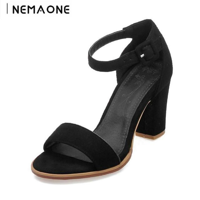 2018 New Flock Square Heels Buckle Strap Sexy Sandals high heel Shoes Woman Ankle Strap Zapatos Mujer Black red gray