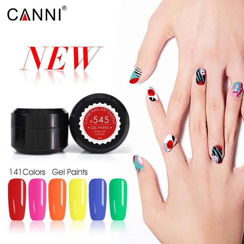 CANNI new 5ML 141 Pure Colors UV Gel Manicure DIY Nail Art Tips Gel Polish Lacquer Design 50618 Varnish Color Nail Painting Gel