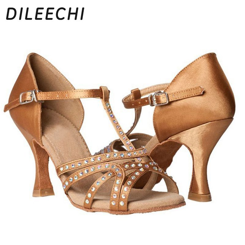 DILEECHI Red Blue Bronze Black Satin spot Women's Latin dance shoes Party Salsa square shoes With or Without rhinestones 7.5cm