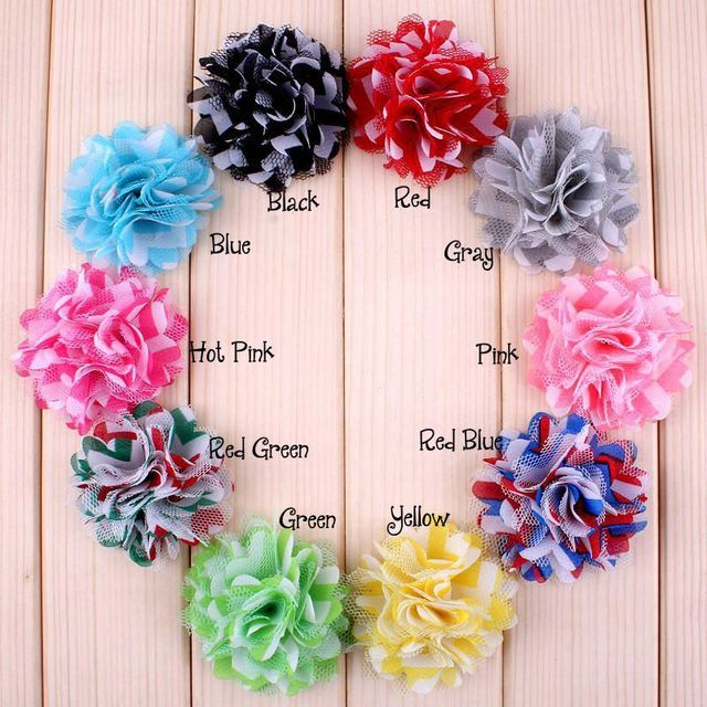 20pcs 2'' Baby Hair Flowers Fabric chevron satin Flowers mesh flower For Newborn Headband Children GirlHair Accessories XFH172