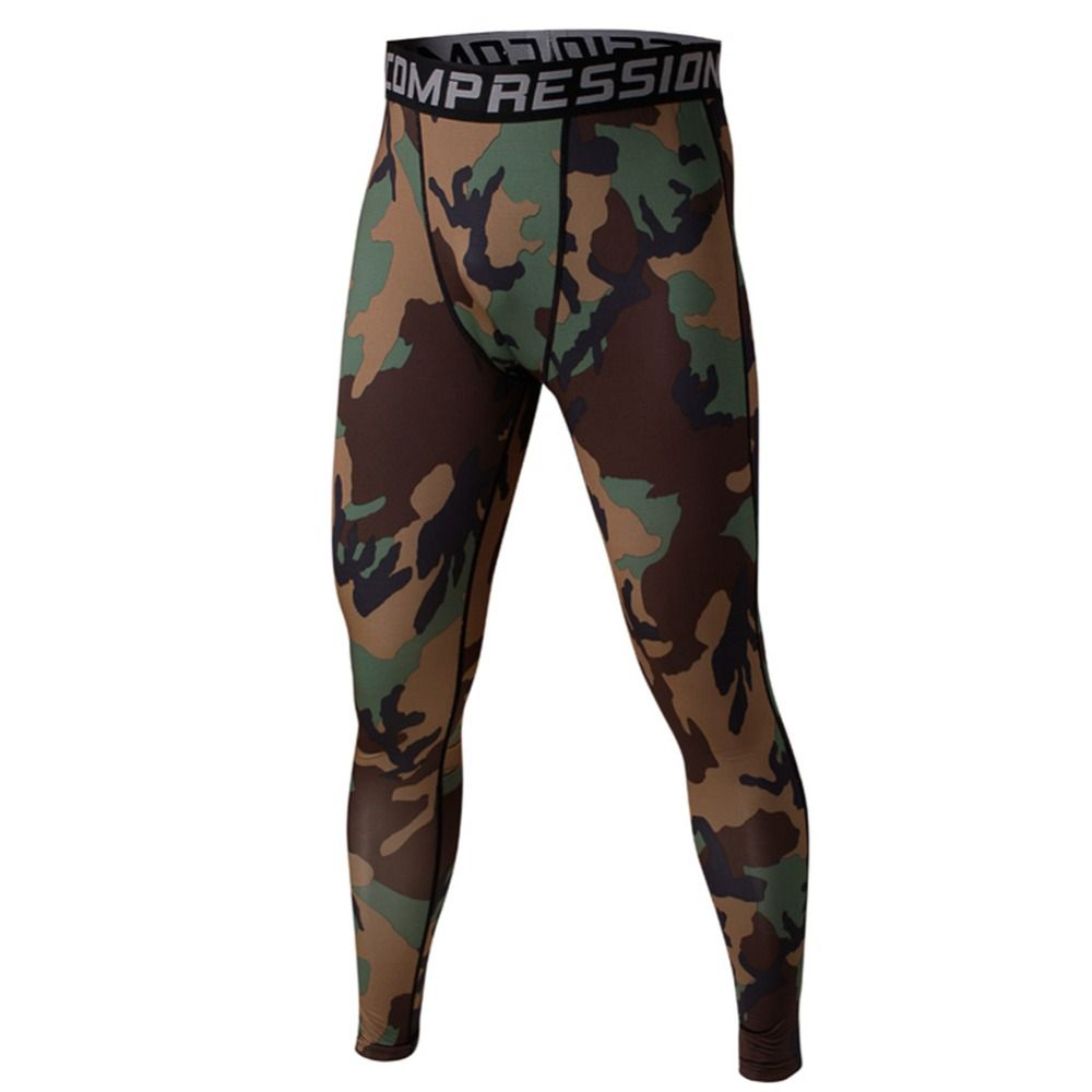 Men Compression Base Layer Camo Pants Leggings Fitness Sports Training Trousers