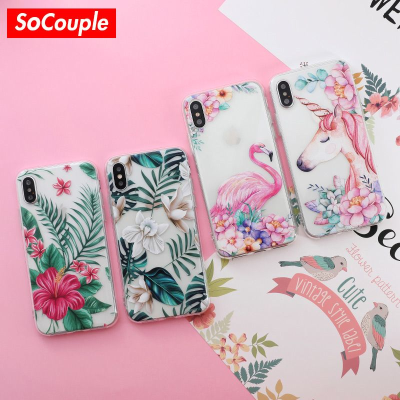SoCouple for iphone 7 Case Flower Plants Fruit Cactus Leaves Silicone Phone Case For iphone 6 6s 7 8 plus X Xs Max XR case