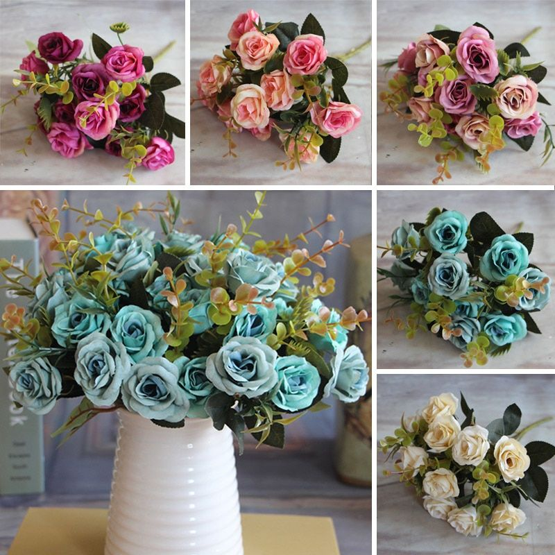 Hot Elegant Beautiful European Artificial Rose Simulation Silk Flowers Bouquet Home Dec Party Wedding Decal