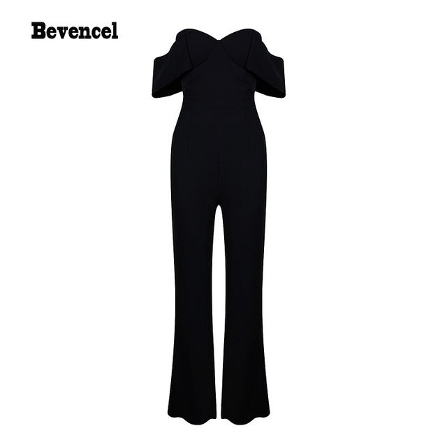 2016 black sexy backless off  shoulders strapless jumpsuits bodycon party jumpsuit
